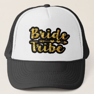 Bride Tribe Bridesmaid Gold Glitter trucker hat