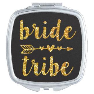 Bride Tribe Bridesmaid Gold Glitter Vanity Mirror