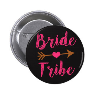 Bride Tribe Bridesmaid Pink Script buttons