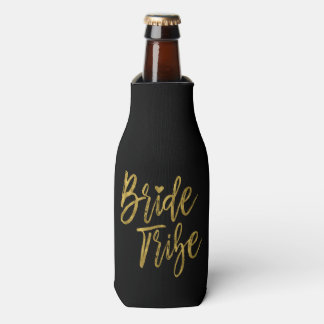 Bride Tribe Faux Gold Foil and Black with Heart Bottle Cooler