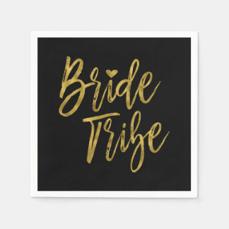 Bride Tribe Faux Gold Foil and Black with Heart Disposable Napkins