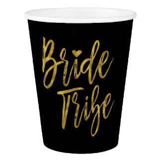 Bride Tribe Faux Gold Foil and Black with Heart Paper Cup
