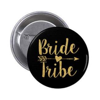 Bride Tribe | Glitter-Print Golden 2 Inch Round Button