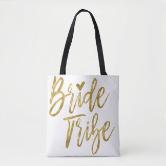 Bride Tribe Gold and White Wedding Party Bag