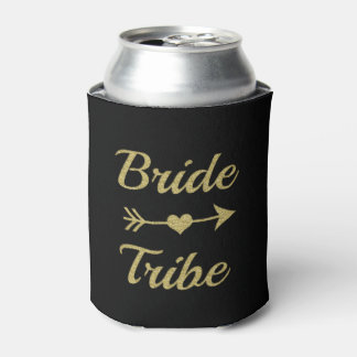 Bride Tribe Gold Glitter Bridesmaid can cooler