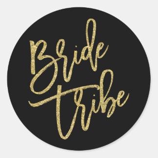 Bride Tribe Gold Glitter Script Round Sticker