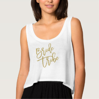 Bride Tribe Gold Glitter Script Tank Top