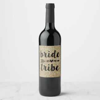 Bride tribe Gold glitter wine bottle label