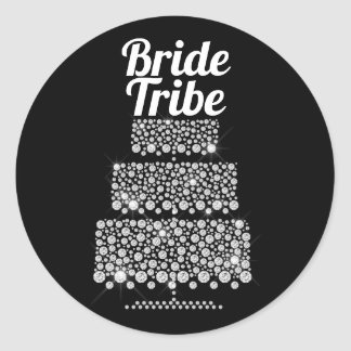 Bride Tribe Modern Black White Wedding Cake Classic Round Sticker