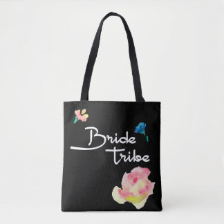 Bride tribe, personalized tote, black with flowers tote bag