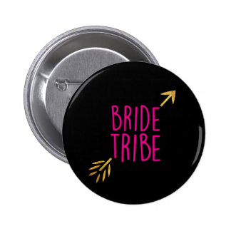 {Bride Tribe} Pink & Gold 2 Inch Round Button