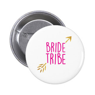 {Bride Tribe} Pink & Gold 2 Inch Round Button