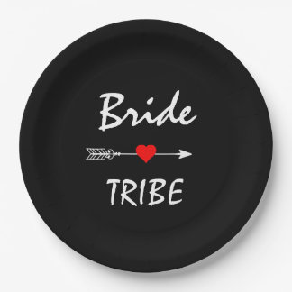 """Bride Tribe Red Heart Arrow Black 9"""" Paper Plate"""