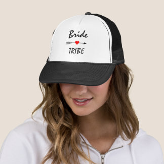 Bride Tribe Red Heart Arrow Black and White Trucker Hat