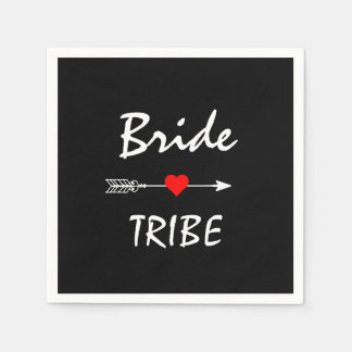 Bride Tribe Red Heart Arrow Black Cocktail Paper Napkin