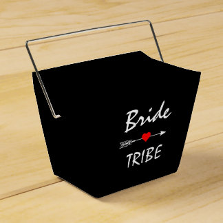 Bride Tribe Red Heart Arrow Black Takeout Favor Box