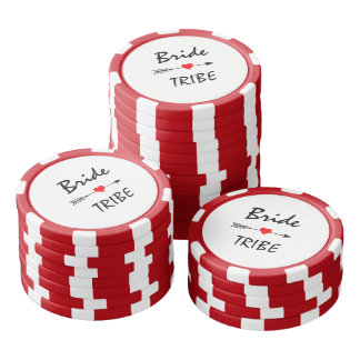 Bride Tribe Red Heart Arrow Red & White Striped Poker Chips