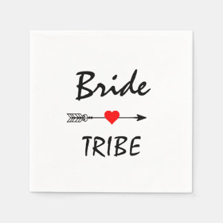 Bride Tribe Red Heart Arrow White Cocktail Paper Napkins