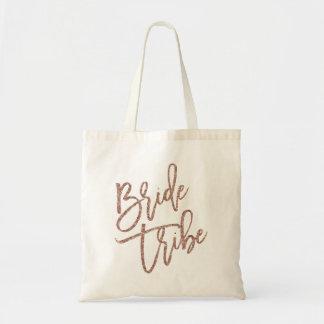 Bride Tribe Rose Gold Faux Glitter Script Tote Bag