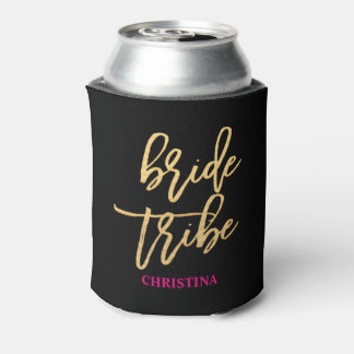 Bride Tribe Script Black/Gold/Hot Pink Personalize Can Cooler