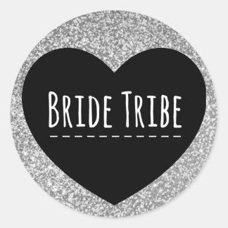 Bride Tribe | Silver Glitter | Heart | Sticker