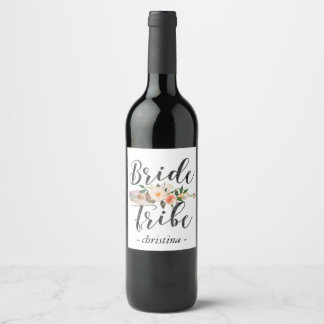 Bride Tribe |Team Bride Rustic Floral with Feather Wine Label