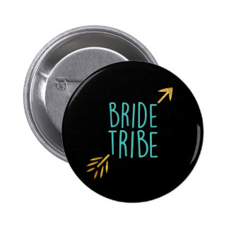 {Bride Tribe} Turquoise & Gold 2 Inch Round Button
