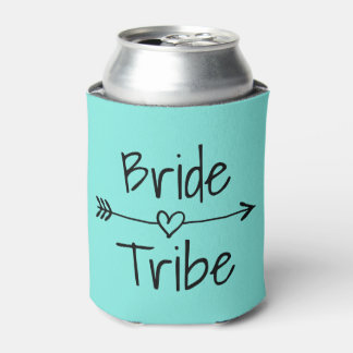 Bride Tribe wedding party turquoise can coolers