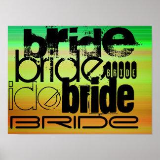 Bride; Vibrant Green, Orange, & Yellow Poster