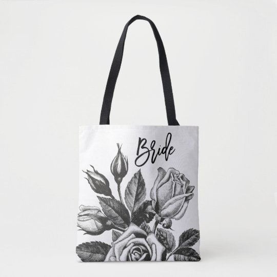 Bride | Vintage Tea Roses in Black and White Tote Bag