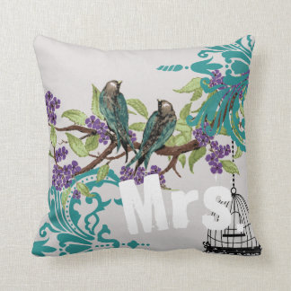 Bride Vintage Teal Birds Birdcage & Purple Blooms Throw Pillow