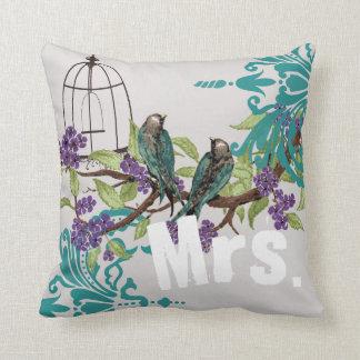 Bride Vintage Teal Birds Birdcage & Purple Blooms Throw Pillow