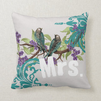 Bride Vintage Teal Birds Damask & Purple Blooms Throw Pillow