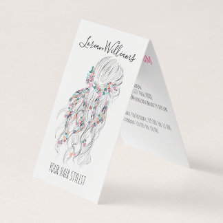 Bride Wavy hair floral wreath Hairstyling branding Business Card