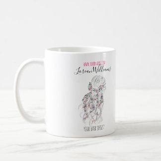 Bride Wavy hair floral wreath Hairstyling branding Coffee Mug