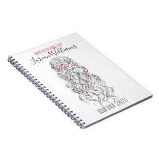 Bride Wavy hair floral wreath Hairstyling branding Spiral Notebook