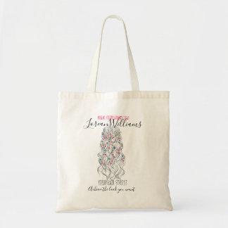 Bride Wavy hair floral wreath Hairstyling branding Tote Bag