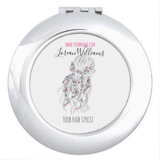 Bride Wavy hair floral wreath Hairstyling branding Vanity Mirrors