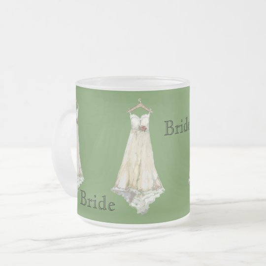 Bride Wedding Day Gift White Dress Simple Modern Frosted Glass Coffee Mug