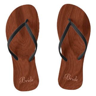 Bride Wedding Day Rustic Wood Look Beach Honeymoon Flip Flops
