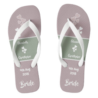 Bride Wedding dusty rose pink and green Flip Flops