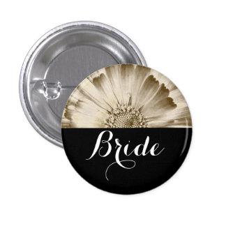 Bride Wedding Gold Daisy 1 Inch Round Button