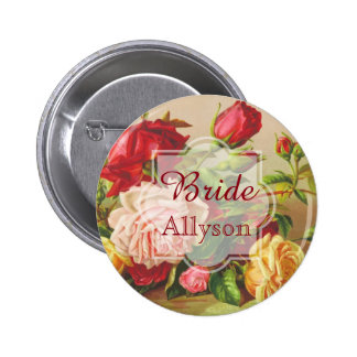 Bride Wedding Monogram Vintage Victorian Roses 2 Inch Round Button