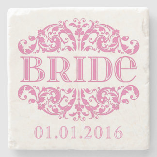 Bride wedding stone coasters Save the Date Pink Stone Coaster