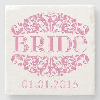 Bride wedding stone coasters Save the Date Pink Stone Coaster