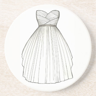 BRIDE White Bridal Gown Wedding Princess Dress Coaster