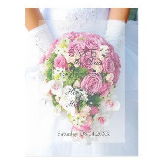 Bride White Flower Bouquet Wedding Save the Date Postcard