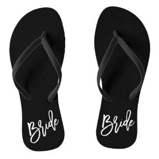 Bride White Script Flip Flops