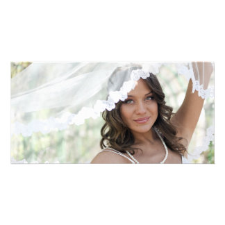 Bride with a veil photo card