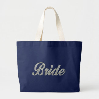 Bride with bling large tote bag